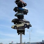 """The Spike"" car sculpture that graced the parking lot of the Cermak Shopping Plaza has since been demolished."