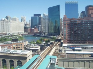 Chicago's Loop, looking over the Northwestern Station Yards
