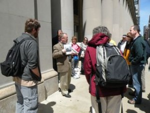 Delivering a lecture as part of an Architectural Walking Tour