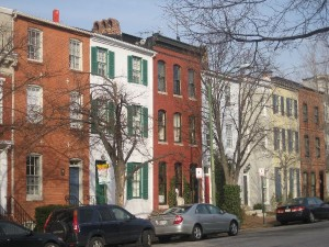 Federal Hill, Baltimore.  These houses measure sixteen feet (about five metres) wide