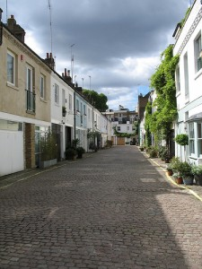 "A ""mews"" or backstreet, in London"