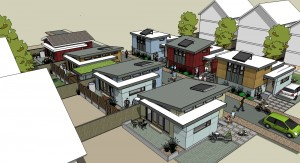 "An entire lane developed with ""laneway houses"", image courtesy of Laneway Development Corporation, Vancouver, BC   www.lanefab.com"